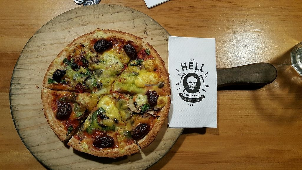 "Photo of Hell Pizza  by <a href=""/members/profile/Derina"">Derina</a> <br/>Purgatory Pizza with Vegan Cheese <br/> October 1, 2017  - <a href='/contact/abuse/image/71666/310766'>Report</a>"