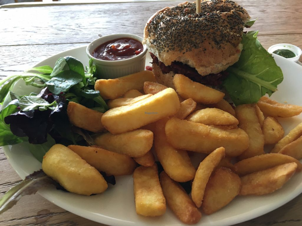 """Photo of CLOSED: Campbell's Canal Cafe  by <a href=""""/members/profile/Veg4Jay"""">Veg4Jay</a> <br/>Burger and Chips <br/> June 11, 2016  - <a href='/contact/abuse/image/71668/153433'>Report</a>"""