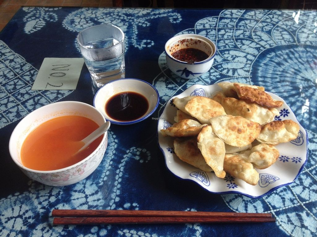 """Photo of Wonderful Vegetarian  by <a href=""""/members/profile/vegan_ryan"""">vegan_ryan</a> <br/>Fried dumplings & tomato soup, with soy & spicy dipping sauces <br/> June 16, 2016  - <a href='/contact/abuse/image/7166/154189'>Report</a>"""