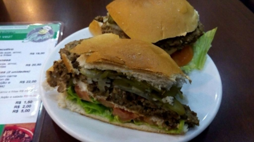 """Photo of Boteco do Gois  by <a href=""""/members/profile/theVejewtarian"""">theVejewtarian</a> <br/>Hambúrguer de Soja <br/> July 4, 2016  - <a href='/contact/abuse/image/71679/157826'>Report</a>"""