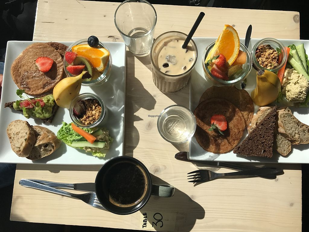 """Photo of Souls  by <a href=""""/members/profile/AmalieNygaard"""">AmalieNygaard</a> <br/>The brunch with pancakes, bread, fruit and yoghurt. Alongside an iced coffee and a normal coffee <br/> July 20, 2017  - <a href='/contact/abuse/image/71701/282471'>Report</a>"""