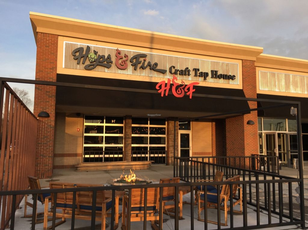 """Photo of Hops and Fire  by <a href=""""/members/profile/rabonin54"""">rabonin54</a> <br/>Patio and entrance <br/> April 11, 2016  - <a href='/contact/abuse/image/71720/144030'>Report</a>"""