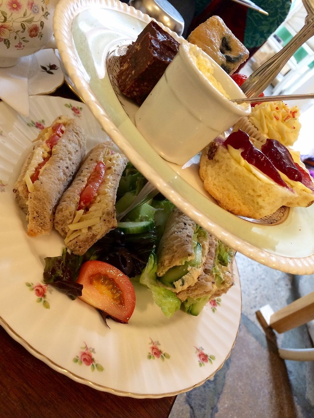 """Photo of The Exclusive Cake Shop & Vintage Tearoom   by <a href=""""/members/profile/Megsriley_82"""">Megsriley_82</a> <br/>Vegan cream tea <br/> April 15, 2018  - <a href='/contact/abuse/image/71733/386311'>Report</a>"""