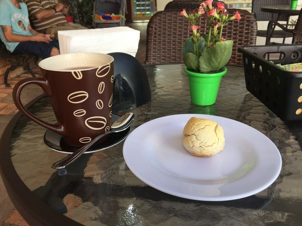 """Photo of Expresso Vegano  by <a href=""""/members/profile/Paolla"""">Paolla</a> <br/>Hot chocolate and vegan cheese bread <br/> July 31, 2016  - <a href='/contact/abuse/image/71768/163937'>Report</a>"""