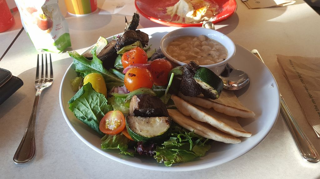 """Photo of Zoe's Kitchen  by <a href=""""/members/profile/IceColdIce"""">IceColdIce</a> <br/>Veggie kebobs with white beans and salad <br/> May 15, 2016  - <a href='/contact/abuse/image/71769/149042'>Report</a>"""