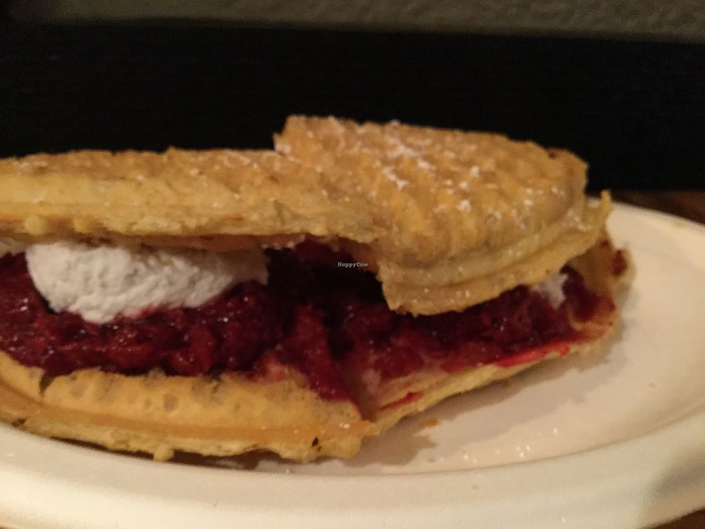 """Photo of Smaaken Waffle Sandwiches - Food Truck  by <a href=""""/members/profile/Arthousebill"""">Arthousebill</a> <br/>Vegan, low-sugar raspberry waffle sandwich with coconut whip <br/> April 7, 2016  - <a href='/contact/abuse/image/71781/143236'>Report</a>"""