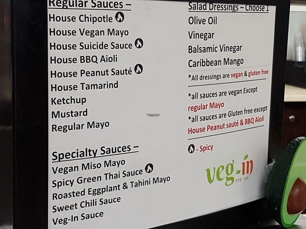 "Photo of Veg-In YYC  by <a href=""/members/profile/DavidTremblay"" class=""title__title"">DavidTremblay</a> <br/>sauces <br/> March 29, 2017  - <a href='/contact/abuse/image/71808/242368'>Report</a>"