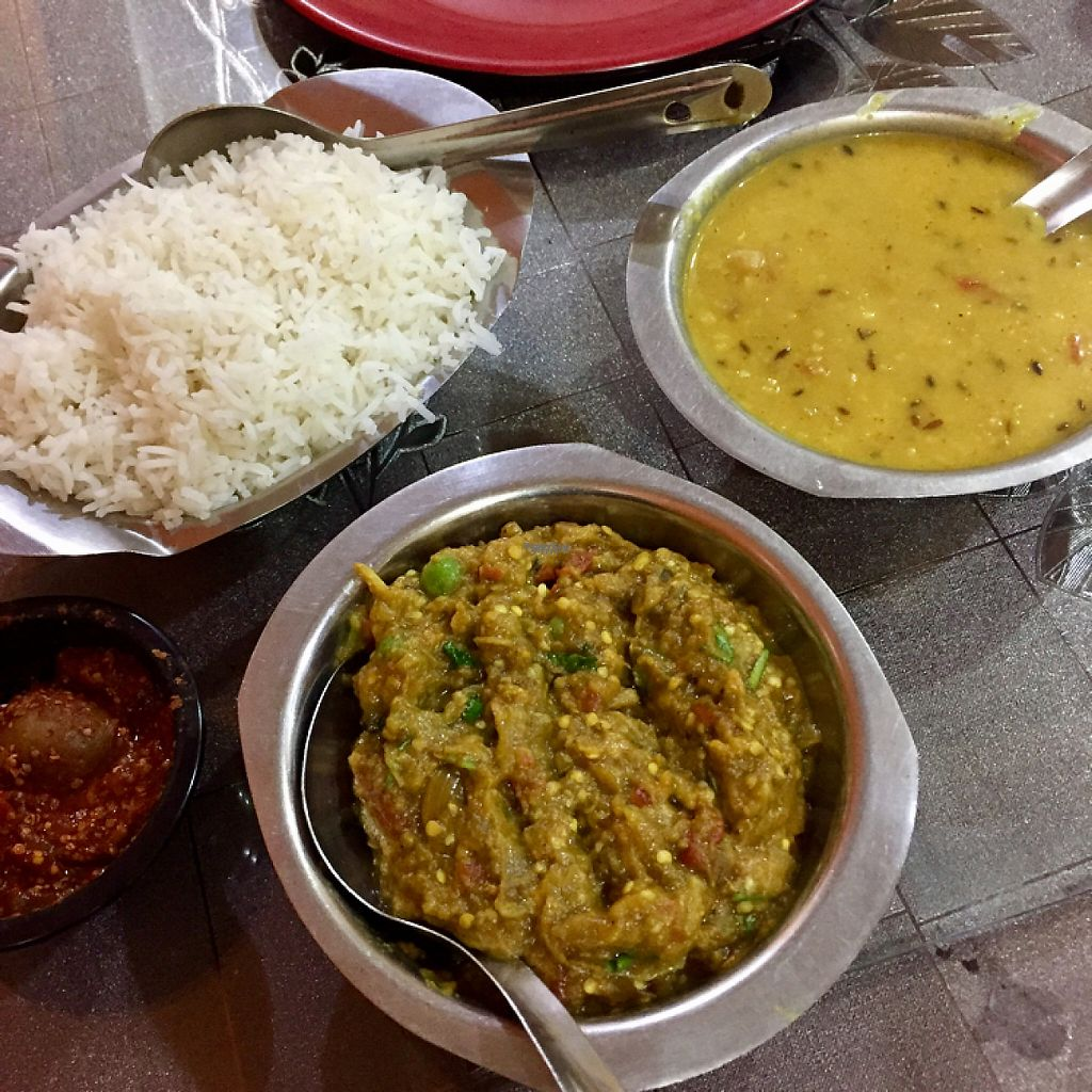 "Photo of New Satkar Vegetarian Restaurant  by <a href=""/members/profile/peterstuckings"">peterstuckings</a> <br/>Curries with rice <br/> November 13, 2016  - <a href='/contact/abuse/image/71829/189283'>Report</a>"