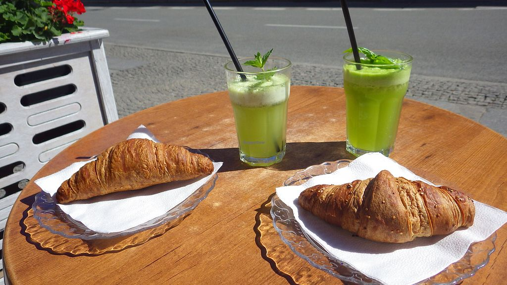 """Photo of Petit Apetit - Nowy Swiat  by <a href=""""/members/profile/deadpledge"""">deadpledge</a> <br/>Vegan croissants and basil lemonade and peppermint lemonade <br/> July 30, 2017  - <a href='/contact/abuse/image/71835/286729'>Report</a>"""