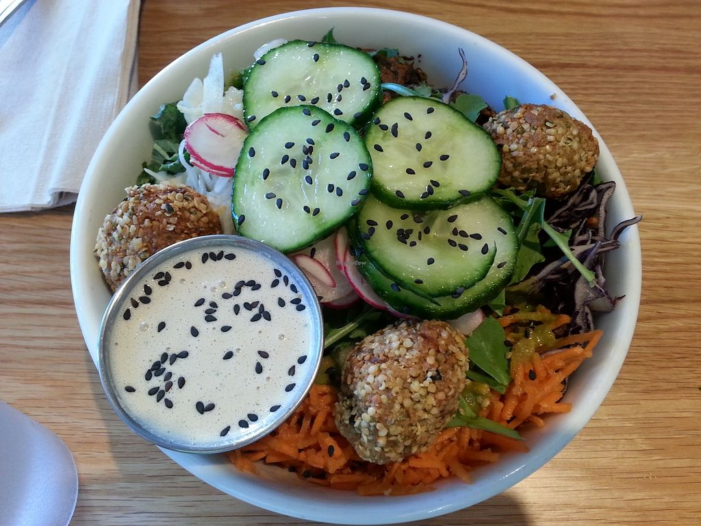 "Photo of Kupfert & Kim - Spadina  by <a href=""/members/profile/Vegan%20GiGi"">Vegan GiGi</a> <br/>K&K Paleo (roasted yam, baked hemp and sunflower balls, sauerkraut, fennel slaw, cucumber, arugula, kale, purple cabbage, sprouts, carrots, and sesame seeds with lemon tahini sauce and horseradish chimichurri) <br/> May 15, 2016  - <a href='/contact/abuse/image/71858/149185'>Report</a>"