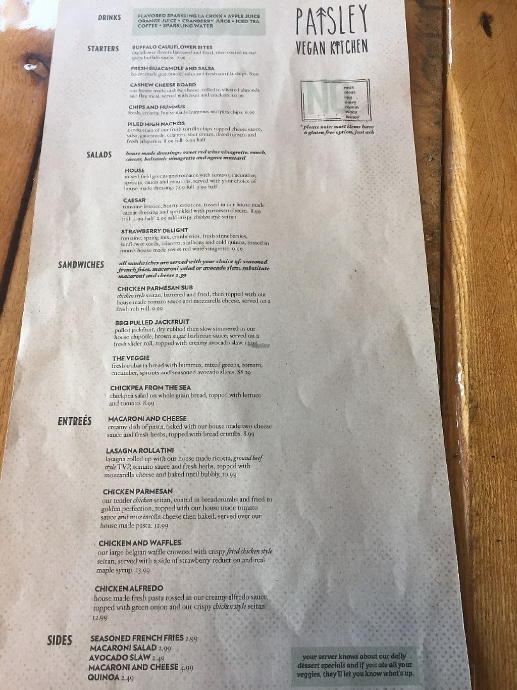 "Photo of Paisley Vegan Kitchen  by <a href=""/members/profile/KoralSeiberlich"">KoralSeiberlich</a> <br/>Menu <br/> November 14, 2016  - <a href='/contact/abuse/image/71867/190133'>Report</a>"