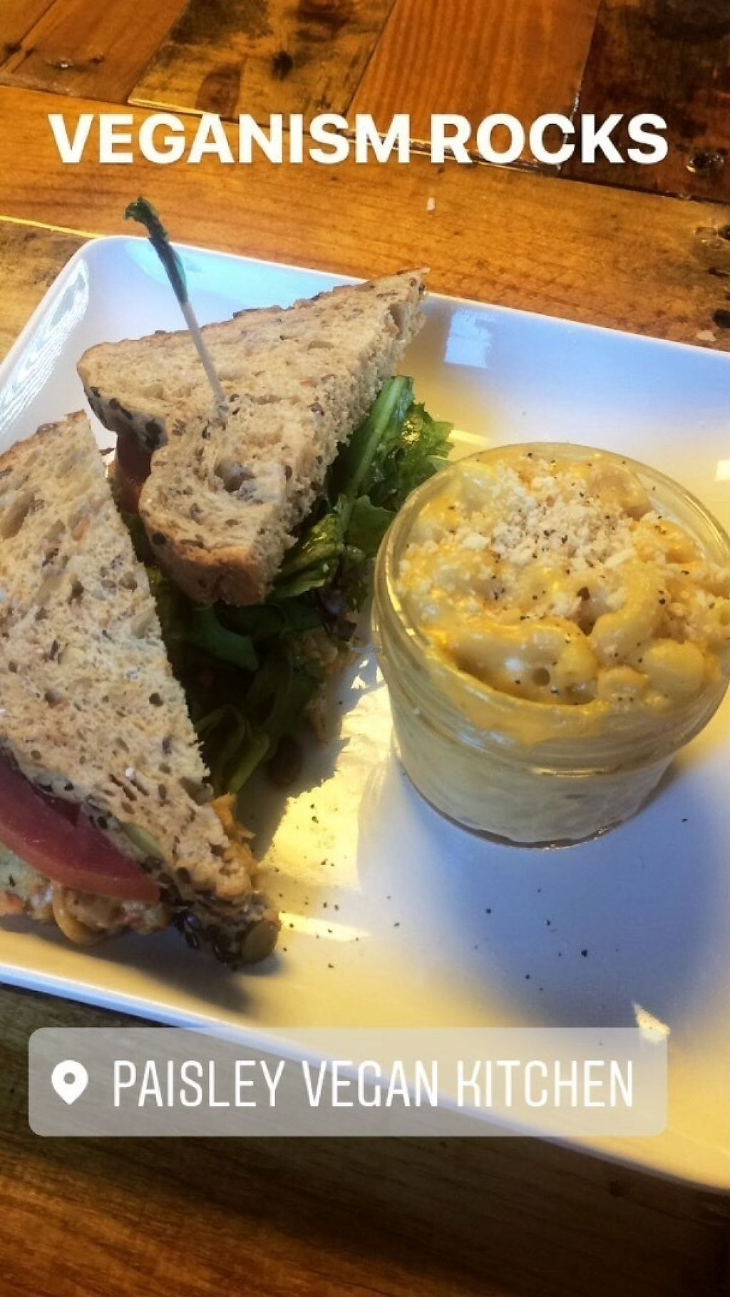 "Photo of Paisley Vegan Kitchen  by <a href=""/members/profile/alexriyan"">alexriyan</a> <br/>Chickpea salad sandwich and a side of macaroni and cheese <br/> January 24, 2017  - <a href='/contact/abuse/image/71867/215587'>Report</a>"