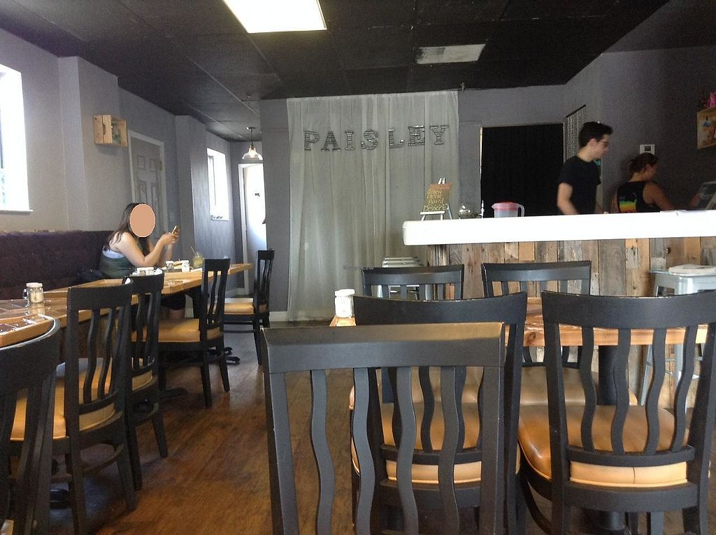 "Photo of Paisley Vegan Kitchen  by <a href=""/members/profile/Julie%20R"">Julie R</a> <br/>The inside is super-clean, basic and welcoming.  It's bright and nice inside <br/> July 12, 2017  - <a href='/contact/abuse/image/71867/279500'>Report</a>"
