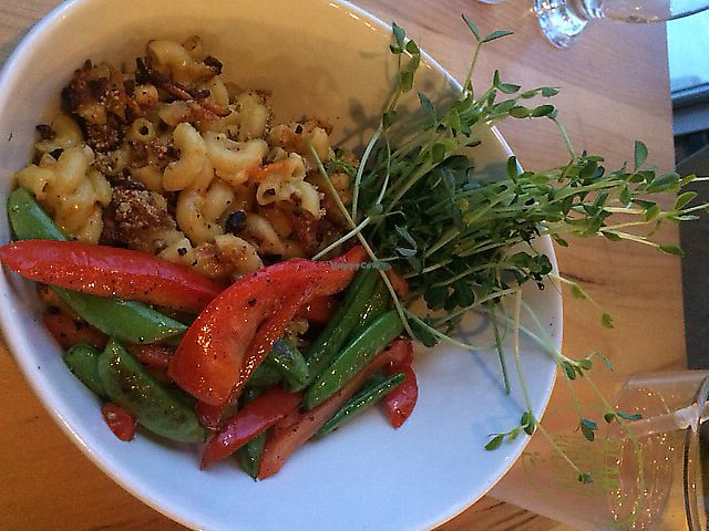 """Photo of Plant Matter Kitchen  by <a href=""""/members/profile/MamaSinkins"""">MamaSinkins</a> <br/>Baked mac n cheese with roasted red pepper and green beans and some fresh sprouts. Yum! <br/> January 16, 2018  - <a href='/contact/abuse/image/71889/391357'>Report</a>"""