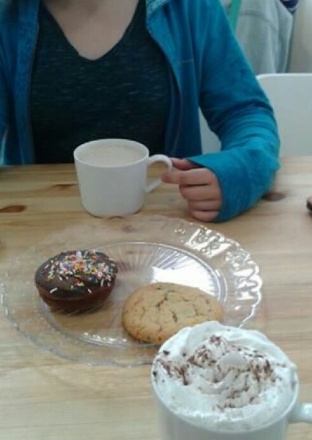"""Photo of Little Jo Berry's  by <a href=""""/members/profile/CatMcD"""">CatMcD</a> <br/>Confetti cookie, hot chocolate w/ almond milk, chai tea w/ almond milk and some other donutty thing  <br/> June 8, 2016  - <a href='/contact/abuse/image/71893/152800'>Report</a>"""