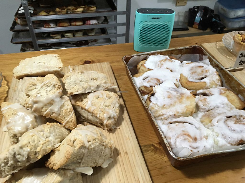 """Photo of Little Jo Berry's  by <a href=""""/members/profile/bethveganza"""">bethveganza</a> <br/>cream cheese cinnamon buns and maple scones <br/> May 6, 2017  - <a href='/contact/abuse/image/71893/256301'>Report</a>"""