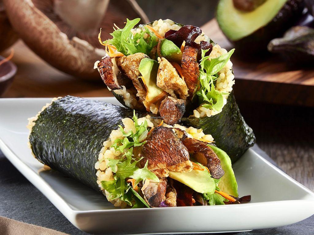 "Photo of Burrito San  by <a href=""/members/profile/caridadfernandez"">caridadfernandez</a> <br/>Buddha's Belly Roll: Roasted portobello mushroom, crunchy eggplant, avocado, shredded carrot, organic greens and garlic miso sauce <br/> April 13, 2016  - <a href='/contact/abuse/image/71901/144446'>Report</a>"