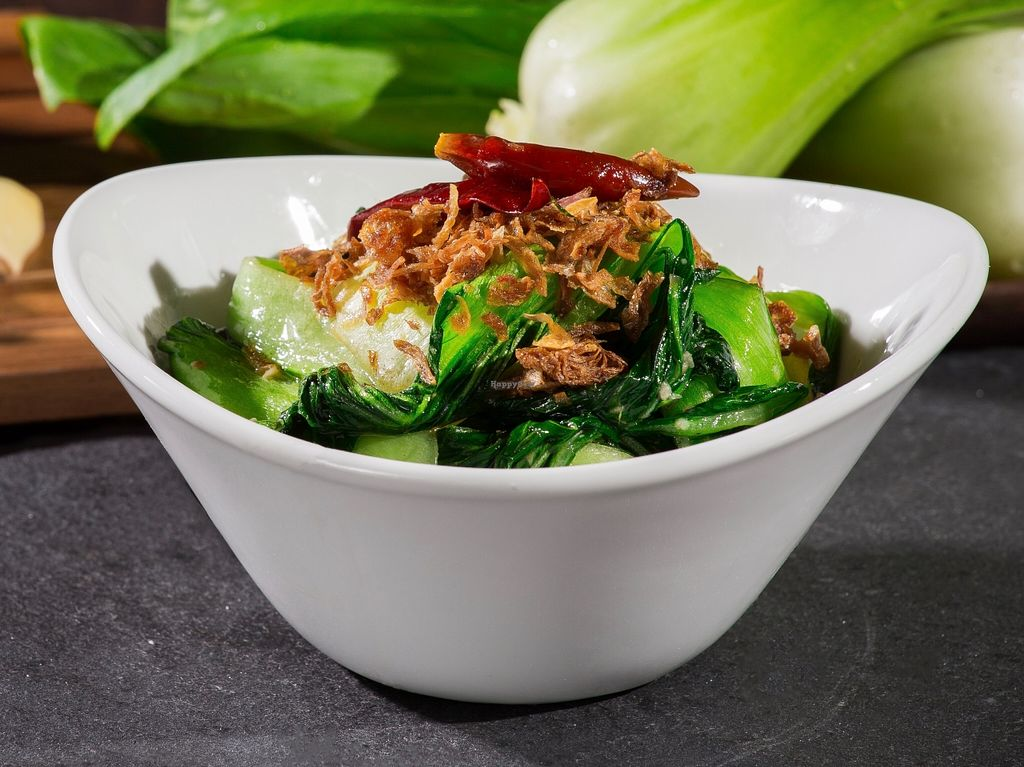 """Photo of Burrito San  by <a href=""""/members/profile/caridadfernandez"""">caridadfernandez</a> <br/>Bok choy stir-fried with garlic, dried chilies, and crunchy shallots <br/> April 13, 2016  - <a href='/contact/abuse/image/71901/144450'>Report</a>"""