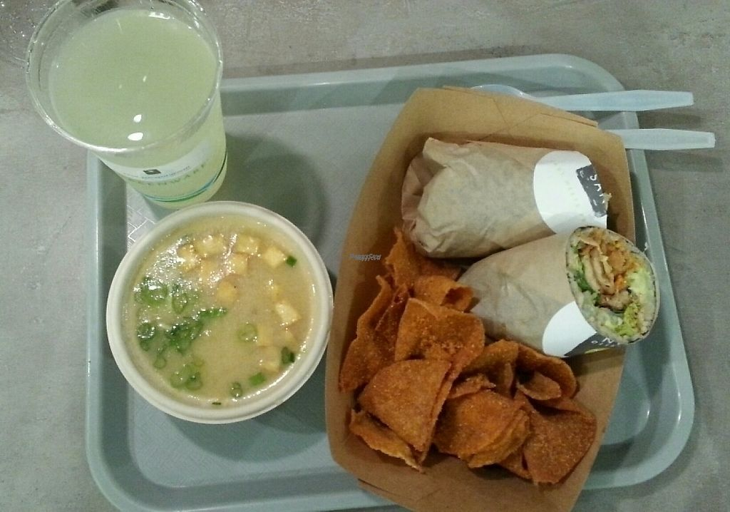 """Photo of Burrito San  by <a href=""""/members/profile/slithers"""">slithers</a> <br/>Miso soup & Saucy Tofu sushi burrito (& lemonade), all vegan <br/> March 11, 2017  - <a href='/contact/abuse/image/71901/235215'>Report</a>"""