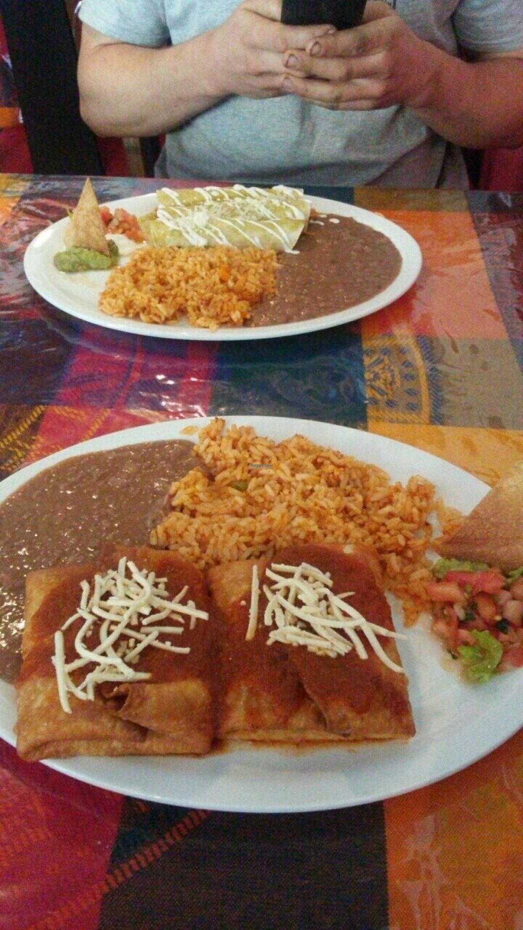"Photo of Cantina Vallarta  by <a href=""/members/profile/Totallynotvegan"">Totallynotvegan</a> <br/>Chimichangas and enchilladas <br/> May 17, 2017  - <a href='/contact/abuse/image/71925/259603'>Report</a>"