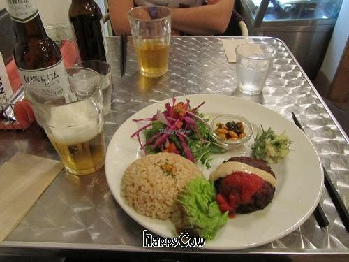 """Photo of CLOSED: Vegan Healing Cafe  by <a href=""""/members/profile/BlisterBlue"""">BlisterBlue</a> <br/>Burger, brown rice & salad <br/> April 12, 2013  - <a href='/contact/abuse/image/7192/46931'>Report</a>"""