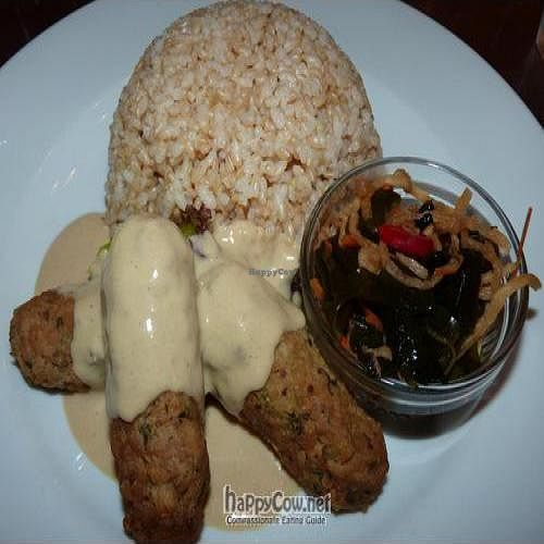 """Photo of CLOSED: Vegan Healing Cafe  by <a href=""""/members/profile/Nihacc"""">Nihacc</a> <br/>Tempe sausages with brown rice <br/> September 5, 2010  - <a href='/contact/abuse/image/7192/5696'>Report</a>"""