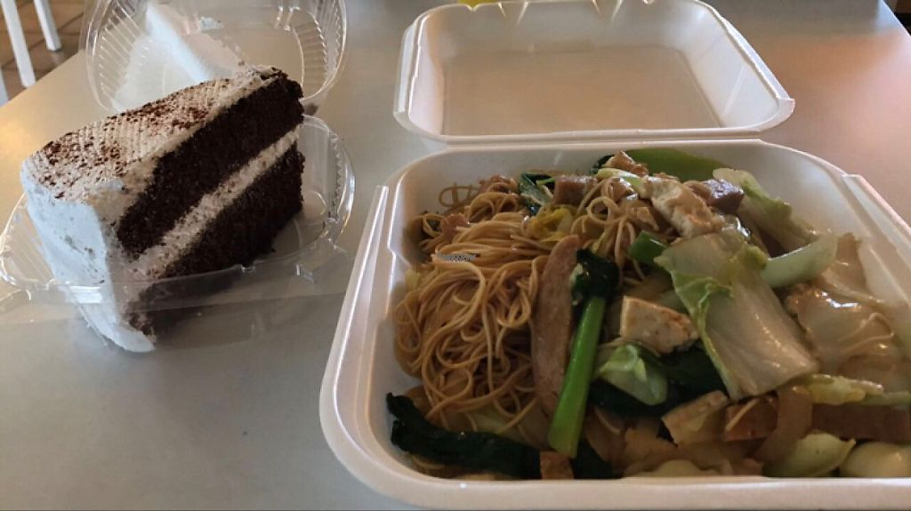 """Photo of Loving Hut - Fresno  by <a href=""""/members/profile/Lanahexapod"""">Lanahexapod</a> <br/>cake & chowmein  <br/> March 11, 2017  - <a href='/contact/abuse/image/7201/235019'>Report</a>"""
