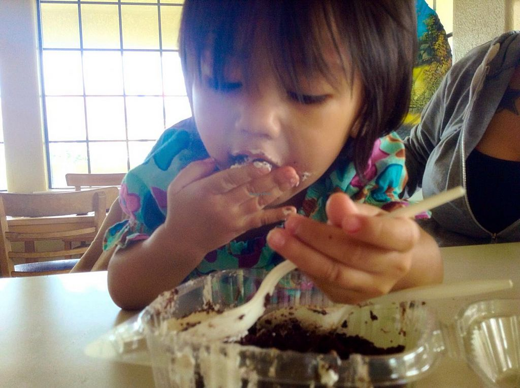 """Photo of Loving Hut - Fresno  by <a href=""""/members/profile/Flower333"""">Flower333</a> <br/>Vegan chocolate cake, deffinitly a winner as you can see :)   <br/> January 27, 2015  - <a href='/contact/abuse/image/7201/91490'>Report</a>"""