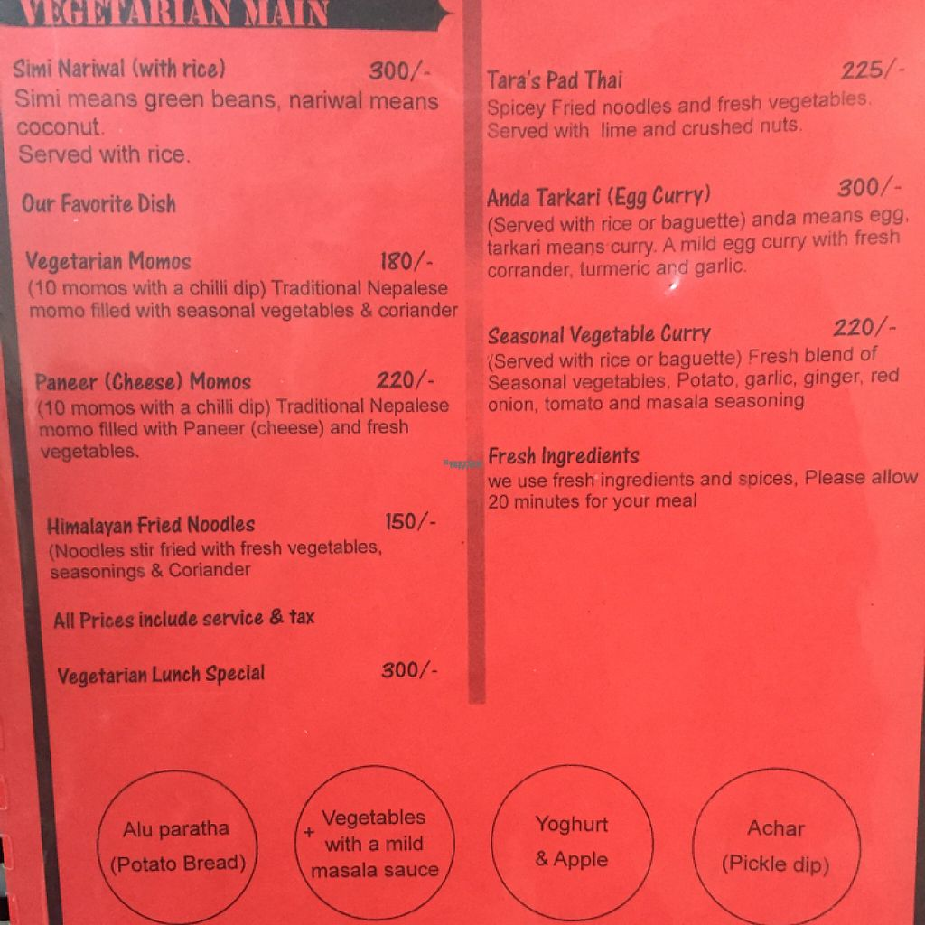 """Photo of Tara's Vegetarian Restaurant  by <a href=""""/members/profile/makosaza"""">makosaza</a> <br/>one page of the menu  <br/> April 19, 2017  - <a href='/contact/abuse/image/72047/249877'>Report</a>"""