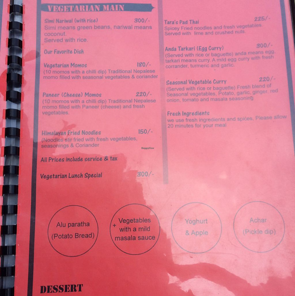 """Photo of Tara's Vegetarian Restaurant  by <a href=""""/members/profile/Siup"""">Siup</a> <br/>menu  <br/> May 14, 2017  - <a href='/contact/abuse/image/72047/258573'>Report</a>"""