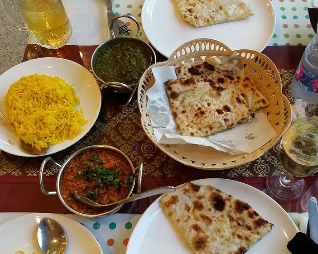 "Photo of Shahbaba Indian Restaurant  by <a href=""/members/profile/jonny%20starch"">jonny starch</a> <br/>palak, eggplant curry, potato naan with yellow basmati rice  <br/> April 14, 2016  - <a href='/contact/abuse/image/72079/144521'>Report</a>"