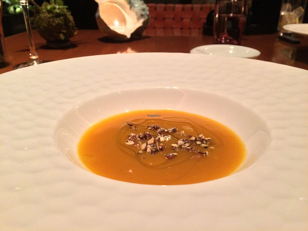 """Photo of Sankara Hotel and Spa  by <a href=""""/members/profile/JoshuaStefane"""">JoshuaStefane</a> <br/>Apple and pumpkin soup with nuts <br/> April 10, 2016  - <a href='/contact/abuse/image/72080/143743'>Report</a>"""