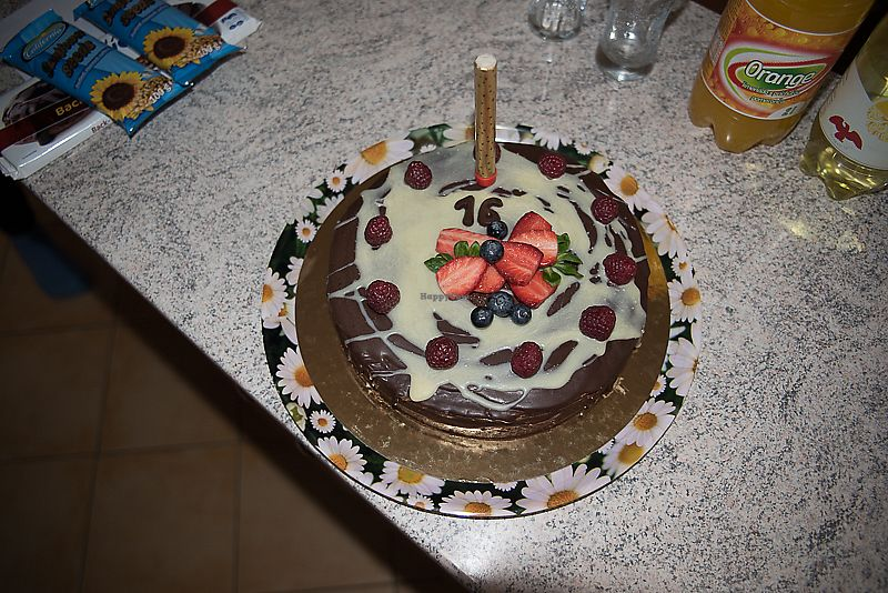 """Photo of MoMo Veg Cafe   by <a href=""""/members/profile/AnetaB%C3%A1rtov%C3%A1"""">AnetaBártová</a> <br/>My delicious chocolate cake with """"white chocolate"""" and fruit on top from last year.  <br/> February 10, 2018  - <a href='/contact/abuse/image/72083/357375'>Report</a>"""