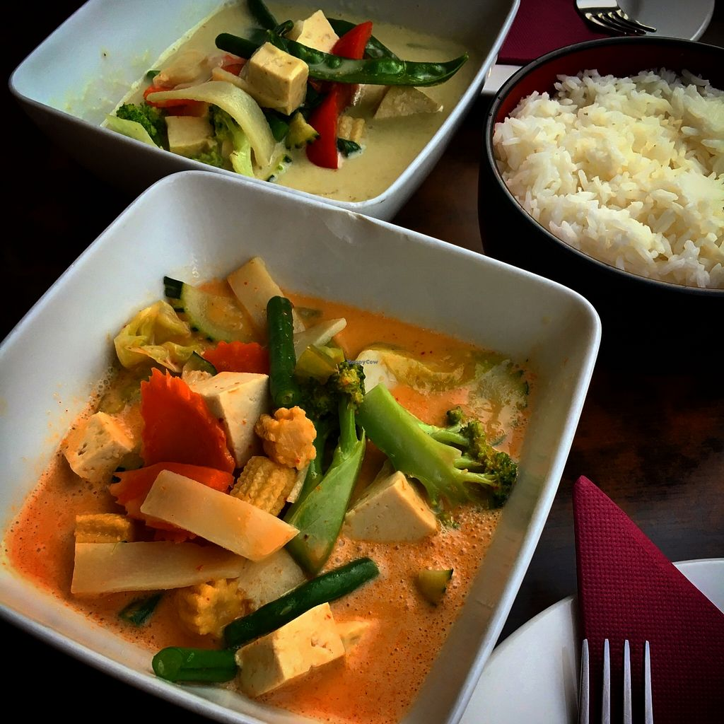 "Photo of Cafe Thailand  by <a href=""/members/profile/SeitanSeitanSeitan"">SeitanSeitanSeitan</a> <br/>Vegetarian and vegan red & green curry <br/> April 9, 2016  - <a href='/contact/abuse/image/72120/143660'>Report</a>"