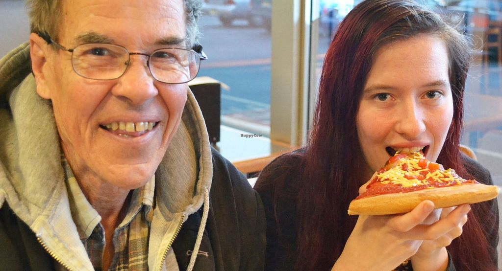 """Photo of Nick's Pizza  by <a href=""""/members/profile/American%20Vegan"""">American Vegan</a> <br/>Steve and Sarah at Nick's eating vegan pizza <br/> April 29, 2016  - <a href='/contact/abuse/image/72154/146724'>Report</a>"""