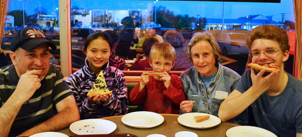 """Photo of Nick's Pizza  by <a href=""""/members/profile/American%20Vegan"""">American Vegan</a> <br/>5 happy vegan pizza eaters at Nick's in Glassboro! <br/> April 29, 2016  - <a href='/contact/abuse/image/72154/146726'>Report</a>"""
