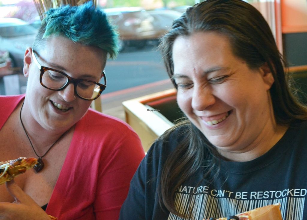 """Photo of Nick's Pizza  by <a href=""""/members/profile/American%20Vegan"""">American Vegan</a> <br/>Mel & Mandy love eating vegan pizza at Nick's Glassboro <br/> April 29, 2016  - <a href='/contact/abuse/image/72154/146727'>Report</a>"""