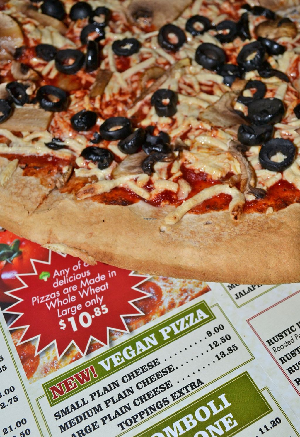 """Photo of Nick's Pizza  by <a href=""""/members/profile/American%20Vegan"""">American Vegan</a> <br/>Nick's has vegan pizza on the menu! <br/> April 29, 2016  - <a href='/contact/abuse/image/72154/146728'>Report</a>"""