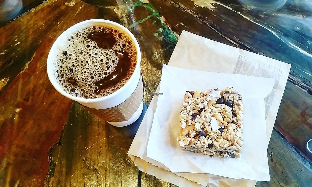 """Photo of Coffee Plant Roaster  by <a href=""""/members/profile/CorissaMarie"""">CorissaMarie</a> <br/>Coffee with almond milk and one of their delicious vegan bars!  <br/> January 5, 2017  - <a href='/contact/abuse/image/72156/208440'>Report</a>"""
