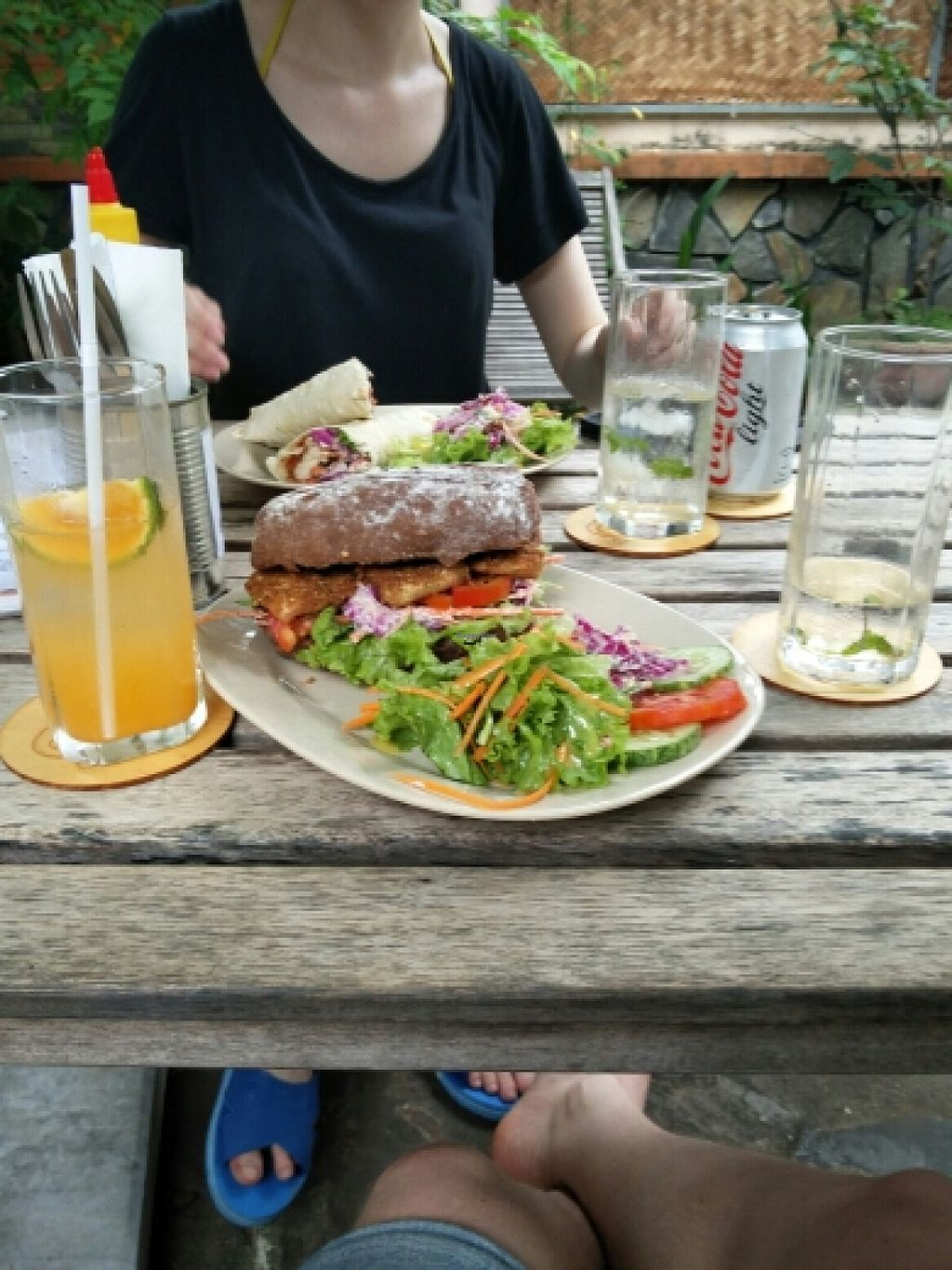 "Photo of Jack's Cat Cafe  by <a href=""/members/profile/Hippiepirate"">Hippiepirate</a> <br/>crispy tofu sandwich and wrap.  with vegan coleslaw <br/> July 5, 2016  - <a href='/contact/abuse/image/72185/157871'>Report</a>"