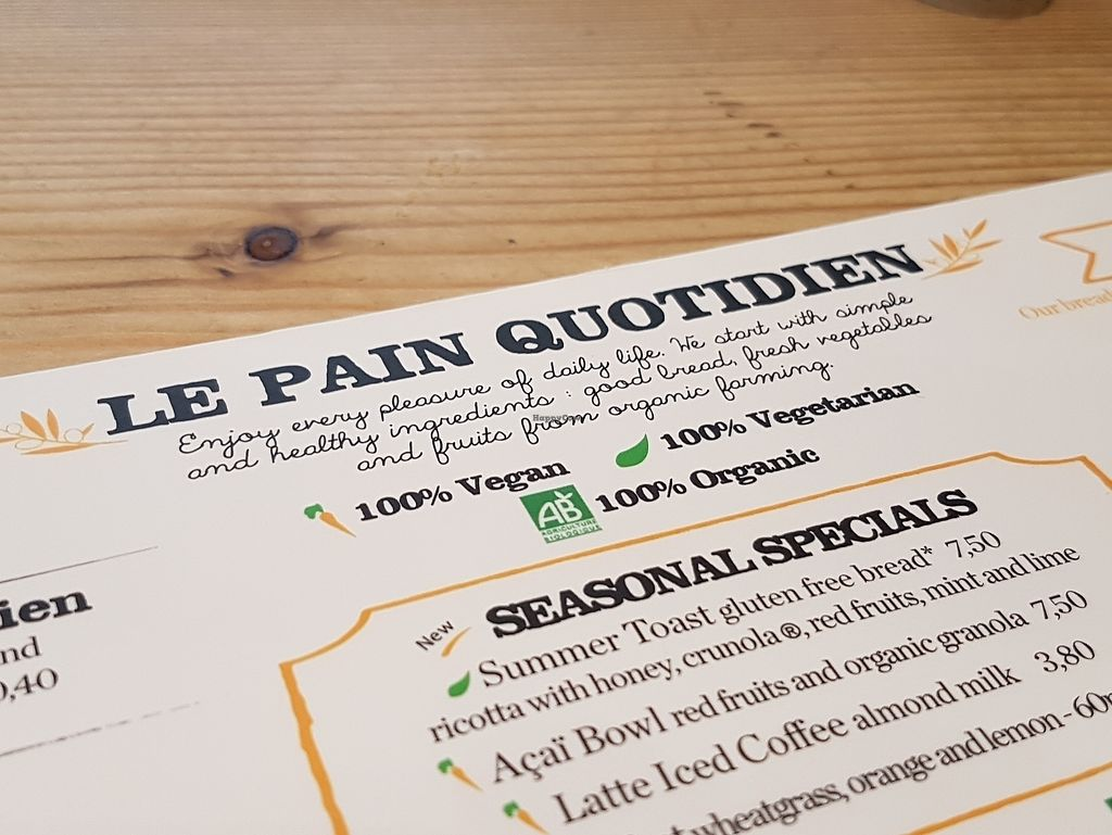"""Photo of Le Pain Quotidien - Les Halles  by <a href=""""/members/profile/Velonaut"""">Velonaut</a> <br/>Vegan and vegatarian options are labelled <br/> August 10, 2017  - <a href='/contact/abuse/image/72217/291126'>Report</a>"""