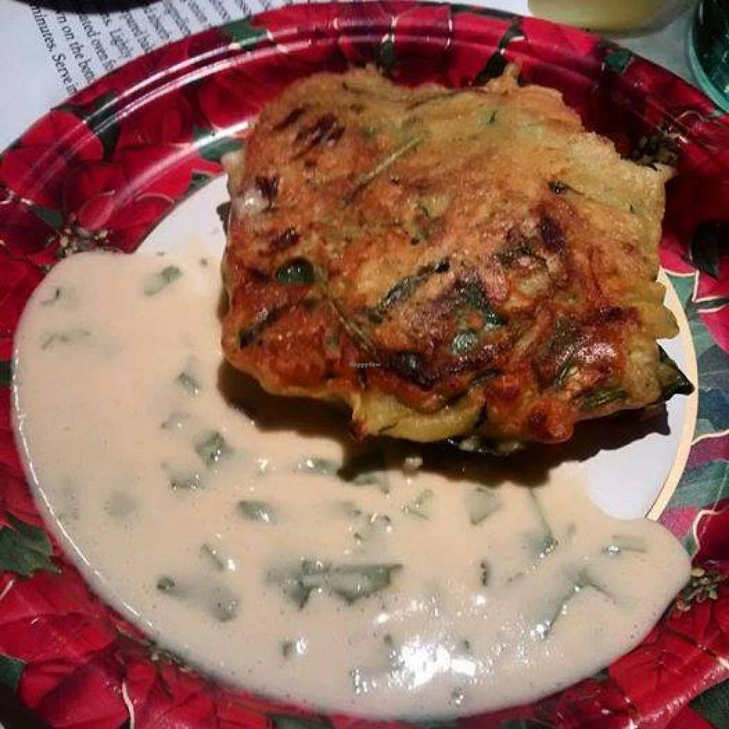 """Photo of Chef Lauren Marshall  by <a href=""""/members/profile/QuothTheRaven"""">QuothTheRaven</a> <br/>Zucchini fritter with sunflower seed mayo  <br/> April 11, 2016  - <a href='/contact/abuse/image/72247/143958'>Report</a>"""