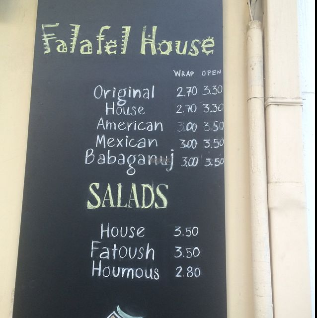 "Photo of Falafel House  by <a href=""/members/profile/serrarose"">serrarose</a> <br/>menu <br/> September 26, 2016  - <a href='/contact/abuse/image/72251/178109'>Report</a>"
