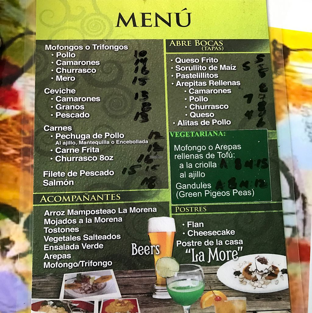 """Photo of La Morena Bar and Restaurant  by <a href=""""/members/profile/xmrfigx"""">xmrfigx</a> <br/>Vegetarian menu is actually vegan, there are other vegan options on the menu too! <br/> February 17, 2017  - <a href='/contact/abuse/image/72257/227249'>Report</a>"""