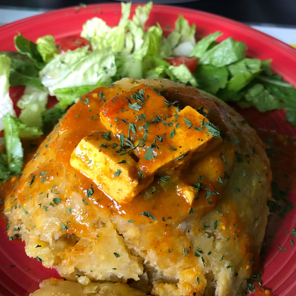 """Photo of La Morena Bar and Restaurant  by <a href=""""/members/profile/xmrfigx"""">xmrfigx</a> <br/>Deliciously flavorful mofongo with tofu in tomato sauce. Incredible! <br/> February 17, 2017  - <a href='/contact/abuse/image/72257/227260'>Report</a>"""