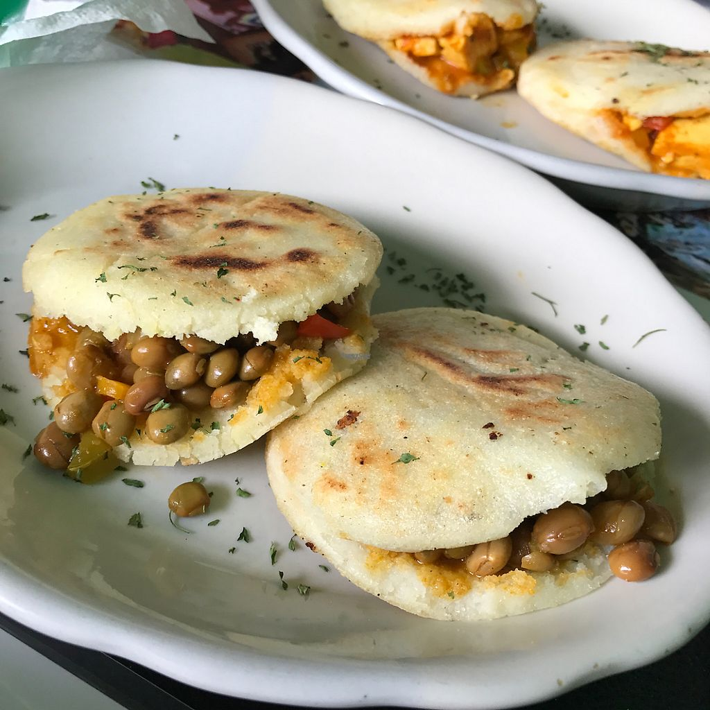 """Photo of La Morena Bar and Restaurant  by <a href=""""/members/profile/xmrfigx"""">xmrfigx</a> <br/>Arepas with green pigeon peas (front) and tofu (back)-so good <br/> February 17, 2017  - <a href='/contact/abuse/image/72257/227263'>Report</a>"""