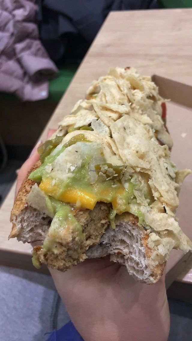"""Photo of Vegan Love  by <a href=""""/members/profile/SkyFitzgerald"""">SkyFitzgerald</a> <br/>Mexican hot dog! Lettuce, tofu sausage, cheese, guac, sauce, crumbled tortilla chips  <br/> February 8, 2018  - <a href='/contact/abuse/image/72335/356438'>Report</a>"""