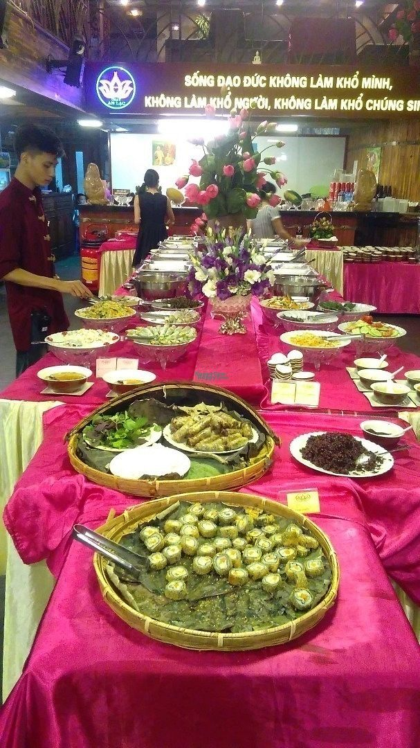 """Photo of An Lac Chay - Hoan Kiem  by <a href=""""/members/profile/KPike"""">KPike</a> <br/>4 tables stacked up with vegan food; heaven! <br/> October 7, 2016  - <a href='/contact/abuse/image/72337/180216'>Report</a>"""