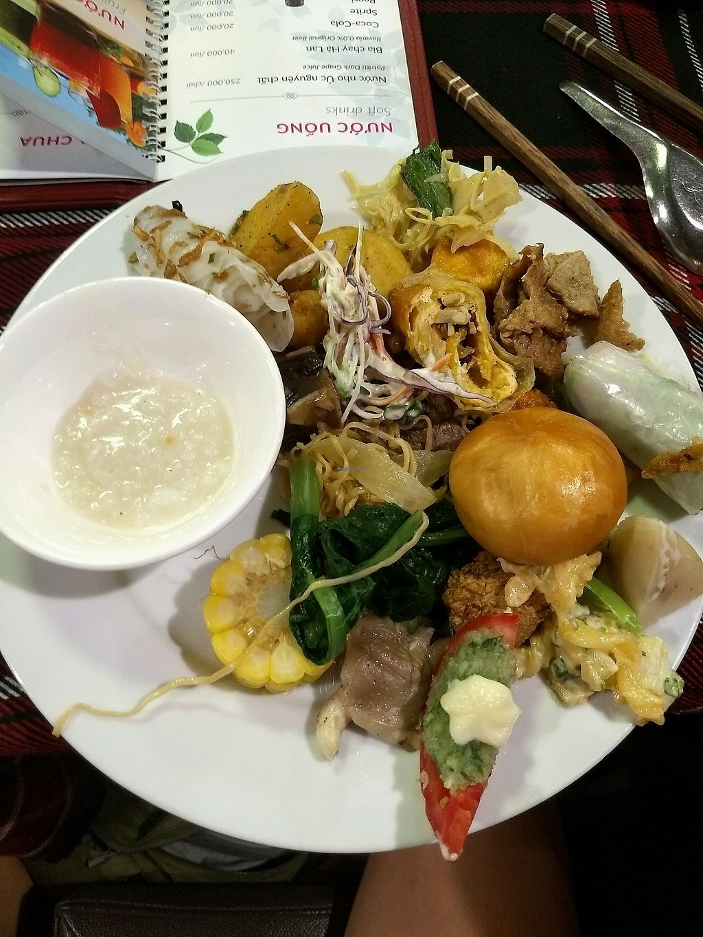 """Photo of An Lac Chay - Hoan Kiem  by <a href=""""/members/profile/mugcake"""">mugcake</a> <br/>Plate of assorted food..loved the porridge! <br/> November 6, 2017  - <a href='/contact/abuse/image/72337/322428'>Report</a>"""