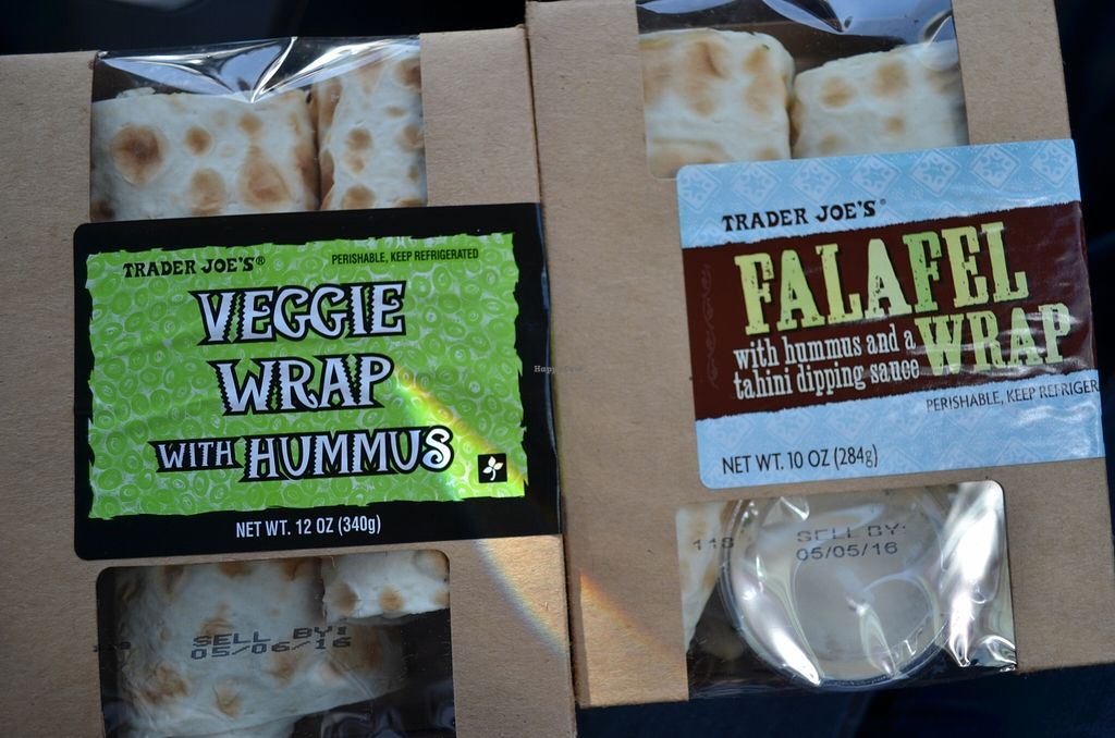 """Photo of Trader Joe's - Grant St  by <a href=""""/members/profile/alexandra_vegan"""">alexandra_vegan</a> <br/>Veggie wrap (vegetarian) and hummus wrap (vegan). I couldn't find the non vegan ingredients on the veggie wrap, but they labeled it as vegetarian, <br/> May 4, 2016  - <a href='/contact/abuse/image/72356/147457'>Report</a>"""